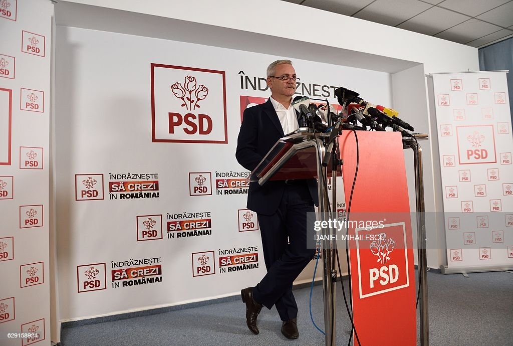 Liviu Dragnea, the leader of The Social Democratic Party (PSD), gives a presser shortly after vote closing and announcing of the exit-polls at the party's headquarters in Bucharest December 11, 2016. Romania's left staged an emphatic comeback in elections Sunday, a year after anger over a deadly nightclub fire forced them from office. / AFP / DANIEL