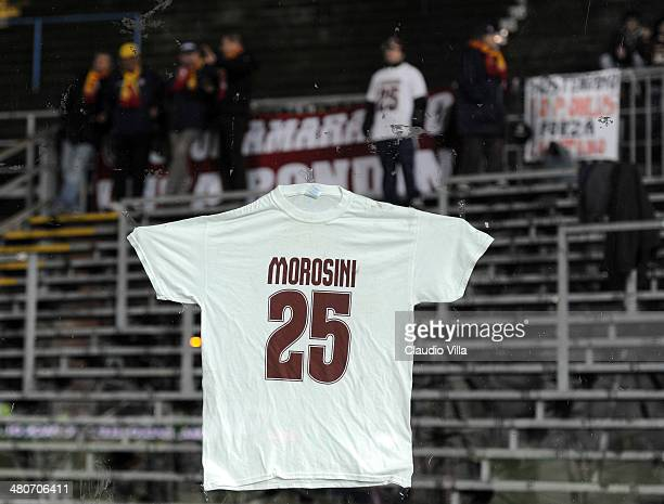 Livorno Calcio fans show a tshirt during the serie A match between Atalanta BC and AS Livorno Calcio at Stadio Atleti Azzurri d'Italia on March 26...