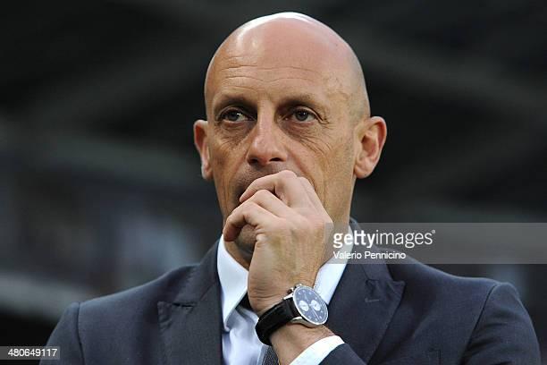 Livorno Calcio head coach Domenico Di Carlo looks on during the Serie A match between Torino FC and AS Livorno Calcio at Stadio Olimpico di Torino on...