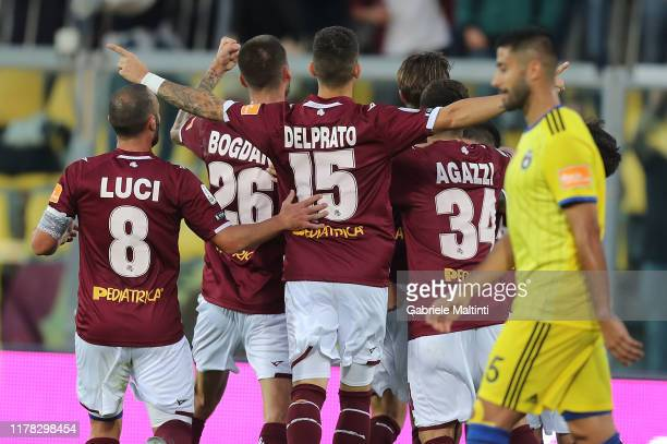 Livorno players celebrate a goal during the Serie B match between AS Livorno and Pisa SC at Stadio Armando Picchi on October 26 2019 in Livorno Italy