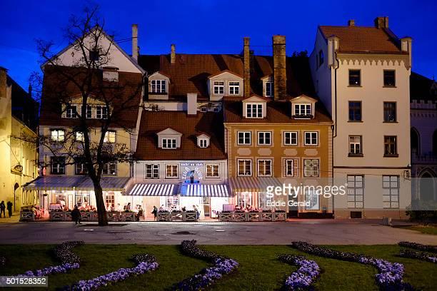 Livu Laukums square in Vecriga the old town district of Riga capital of Republic of Latvia