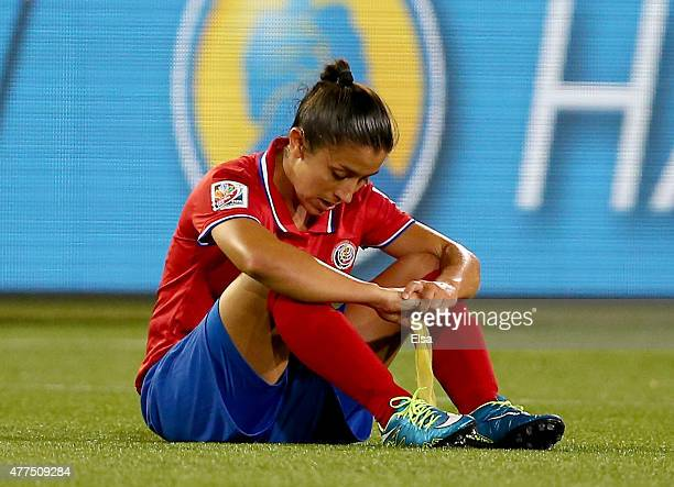 Lixy Rodriguez of Costa Rica reacts after the loss to Brazil during the FIFA Women's World Cup 2015 Group E match at Moncton Stadium on June 17 2015...