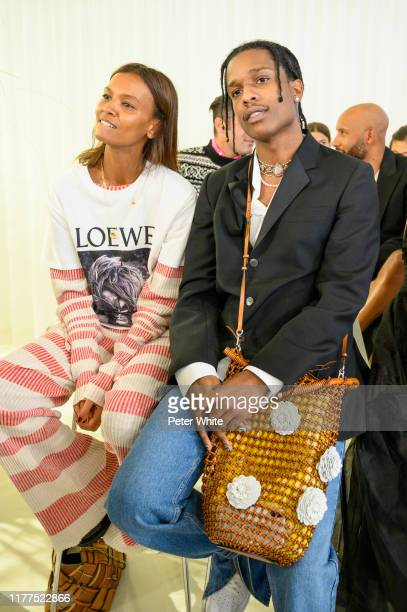 Liya Kebede and ASAP Rocky attend the Loewe Womenswear Spring/Summer 2020 show as part of Paris Fashion Week on September 27, 2019 in Paris, France.