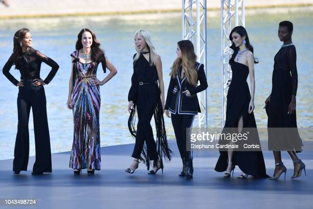 Liya Kebede, Andie MacDowell, Doutzen Kroes, Thylane Blondeau and Maria Borges walk the runway during Le Defile L'Oreal Paris as part of Paris...