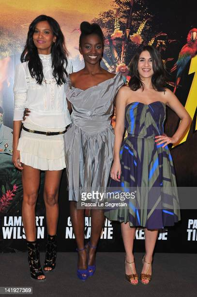 Liya Kebede Aïssa Maïga and Géraldine Nakache attend 'Sur La Piste Du Marsupilami' Premiere at Gaumont Champs Elysees on March 26 2012 in Paris France