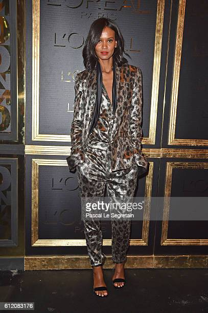Liya Kebede attends the Gold Obsession Party L'Oreal Paris Photocall as part of the Paris Fashion Week Womenswear Spring/Summer 2017 on October 2...