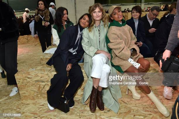 Liya Kebede Constance Jablonski and Tina Kunakey attends the Lacoste show as part of the Paris Fashion Week Womenswear Fall/Winter 2020/2021 on March...