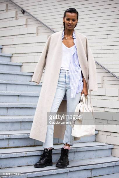 Liya Kebede is seen outside Balmain fashion show on February 28, 2020 in Paris, France.