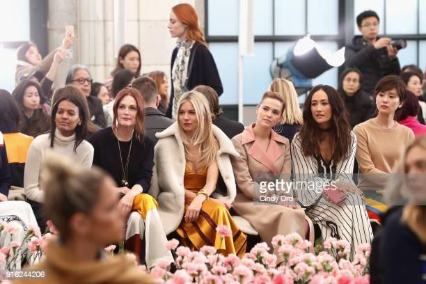 Liya Kebede Julianne Moore Sienna Miller Zoey Deutch Maggie Q and Liu Shishi attend the Tory Burch Fall Winter 2018 Fashion Show during New York...