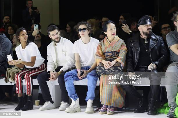 Liya Kebede Kevin Mischel Timothée Chalamet Setsuko Klossowska de Rola and Peter Marino attend the Haider Ackermann show as part of the Paris Fashion...