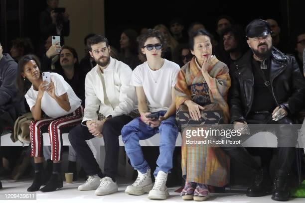 Liya Kebede Kevin Mischel Timothée Chalamet Setsuko Klossowska de Rola and Peter Marino attend the Haider Ackermann show as part of the Paris Fashion...