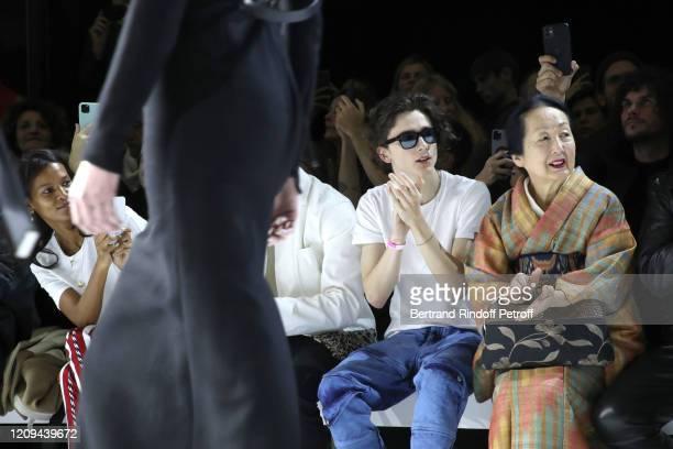 Liya Kebede Timothée Chalamet and Setsuko Klossowska de Rola attend the Haider Ackermann show as part of the Paris Fashion Week Womenswear...