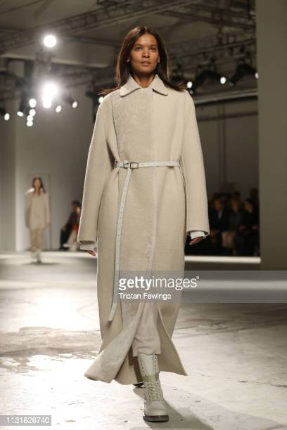Liya Kebede walks the runway at the Agnona show at Milan Fashion Week Autumn/Winter 2019/20 on February 23 2019 in Milan Italy