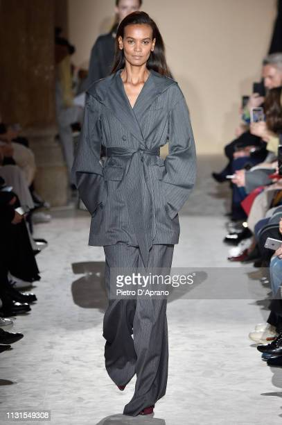 Liya Kebede walks the runway at the Salvatore Ferragamo show at Milan Fashion Week Autumn/Winter 2019/20 on February 23 2019 in Milan Italy