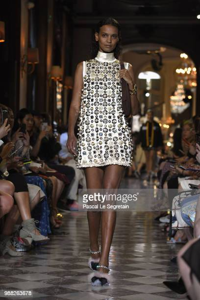 Liya Kebede walks the runway during Miu Miu 2019 Cruise Collection Show at Hotel Regina on June 30 2018 in Paris France