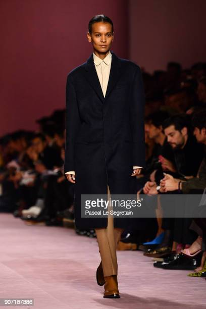 Liya Kebede walks the runway during the Berluti Menswear Fall/Winter 20182019 show as part of Paris Fashion Week on January 19 2018 in Paris France