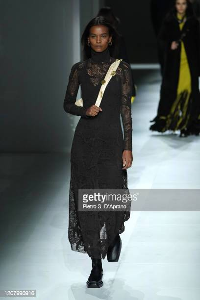 Liya Kebede walks the runway during the Bottega Veneta fashion show as part of Milan Fashion Week Fall/Winter 2020-2021 on February 22, 2020 in...