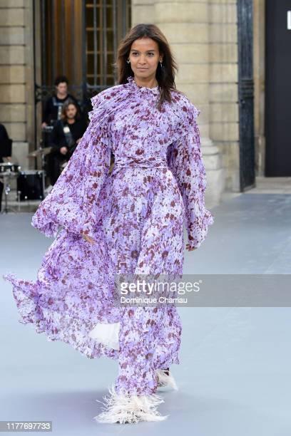 "Liya Kebede walks the runway during the ""Le Defile L'Oreal Paris"" Show as part of Paris Fashion Week on September 28, 2019 in Paris, France."