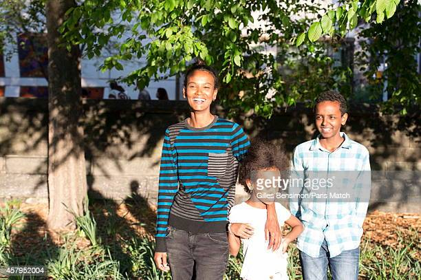 Liya Kebede with her son Suhul 14 years her daughter Raee 8 years photographer for Paris Match on May 12 2014 in AddisAbaba Ethiopia
