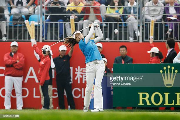 Liying Ye of China tees off during the final round of the Reignwood LPGA Classic at Pine Valley Golf Club on October 6 2013 in Beijing China