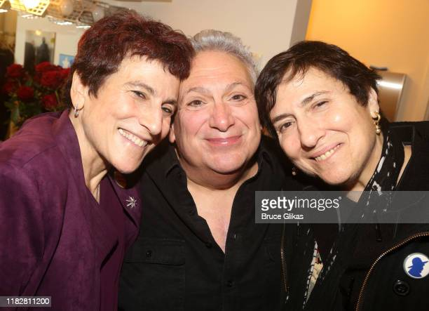 Liz Abzug Harvey Fierstein and Eve Abzug pose at the opening night of the new Manhattan Theatre Club play Bella Bella at MTC Stage 1 Theatre at City...
