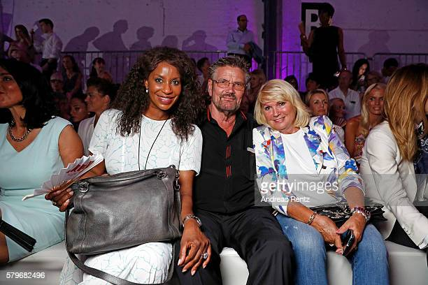Liz Baffoe Guenther Klum and Erna Klum attend the Thomas Rath show during Platform Fashion July 2016 at Areal Boehler on July 24 2016 in Duesseldorf...