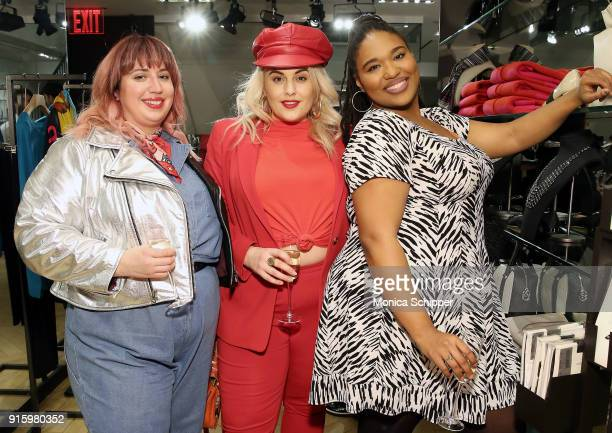 Liz Black Felicity Hayward and Shay Tucker attend the Ashley Graham x Marina Rinaldi SS18 Denim Capsule Collection Launch on February 8 2018 in New...