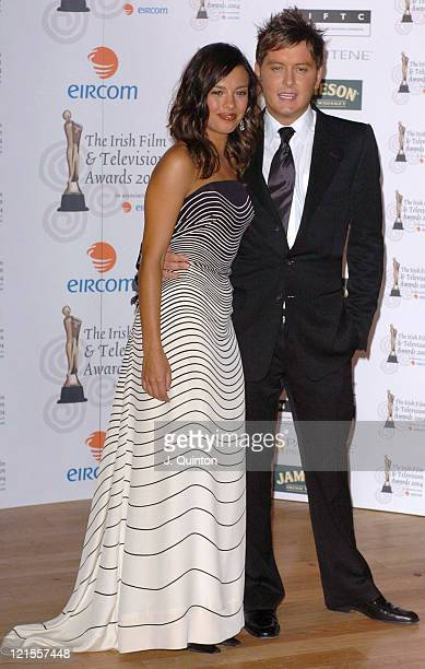 Liz Bonnin and Brian Dowling during The Irish Film and Television Awards 2004 Press Room at The Burlington Hotel in Dublin Ireland