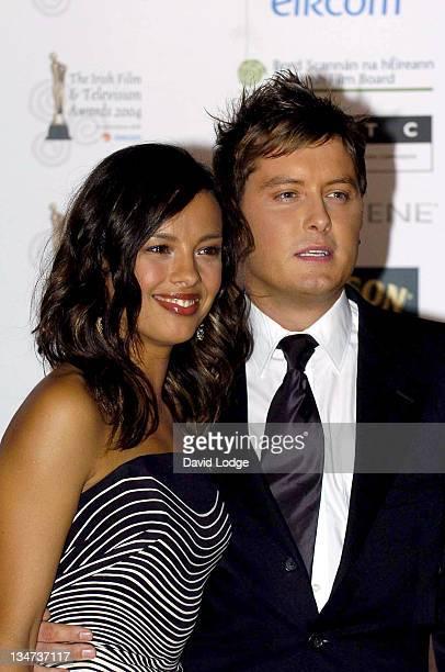 Liz Bonnin and Brian Dowling during The Irish Film and Television Awards 2004 Pressroom at The Burlington Hotel in Dublin Ireland