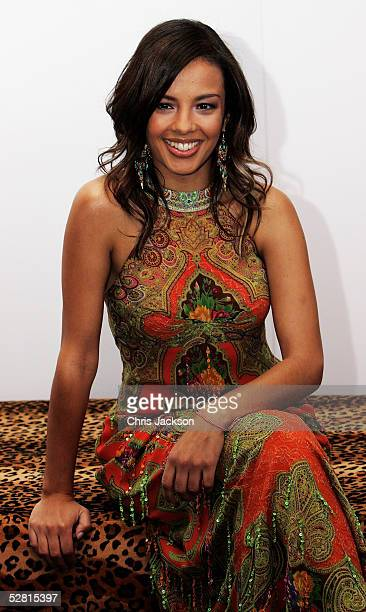 Liz Bonnin attends Champagne Reception at The Aura of Asia charity fashion show in aid of GOAL's South East Asia Appeal at Battersea Marquee...