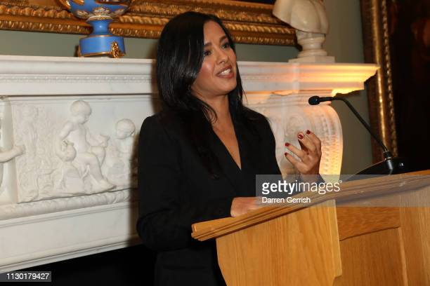 Liz Bonnin speaks at the BFC x BBC Earth x Mother of Pearl Present Positive Fashion during London Fashion Week February 2019 at the Spencer House on...