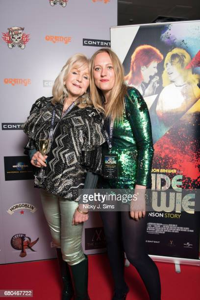 Liz Brewer and Tallulah Rendall attend the UK Premiere of Jon Brewer's 'BESIDE BOWIE The Mick Ronson Story' at The Mayfair Hotel on May 08 2017 in...