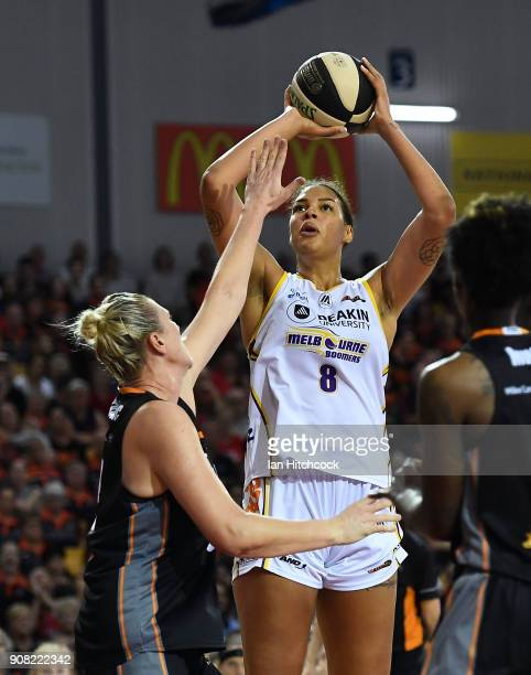 Liz Cabbage of the Boomers takes a jump shot during game three of the WNBL Grand Final series between the Townsville Fire and Melbourne Boomers at...