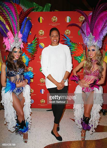 Liz Cambage arrives at the Crown's Celebrity Foosball Cup on June 11 2014 in Melbourne Australia