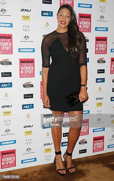 Liz Cambage arrives at the 'I Support Women In Sport' awards at The Ivy Ballroom on October 15 2013 in Sydney Australia