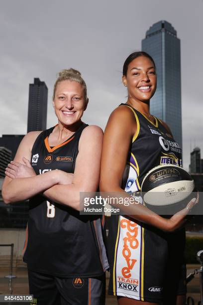 Liz Cambage Melbourne Boomers and Suzy Batkovic Townsville Fire pose during the 2017/18 NBL and WNBL Season Launch at Crown Towers on September 11...
