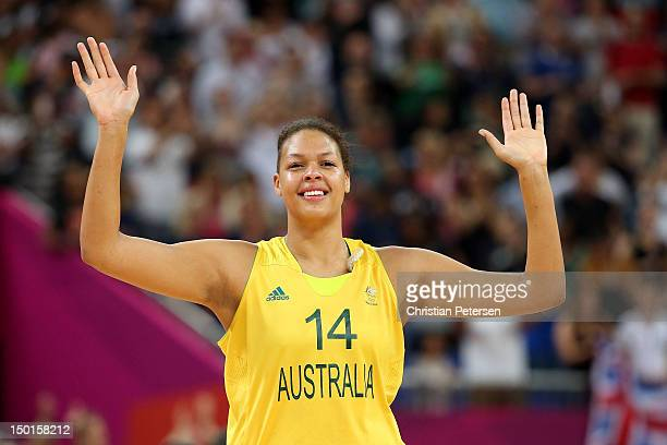 Liz Cambage of Australia celebrates after they won 8374 agaist Russia during the Women's Basketball Bronze Medal game on Day 15 of the London 2012...