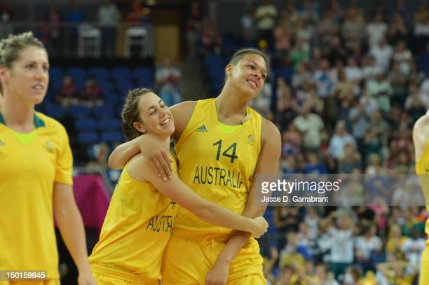 Liz Cambage of Australia celebrates against Russia during their Basketball Game on Day 15 of the London 2012 Olympic Games at the North Greenwich...
