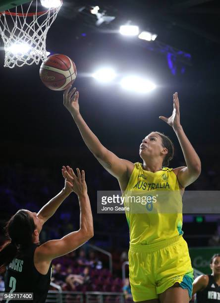 Liz Cambage of Australia competes in the Women's semifinal match between New Zealand and Australia during Basketball on day nine of the Gold Coast...