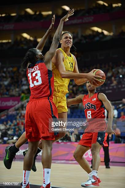 Liz Cambage of Australia shoots against Sylvia Fowles of the United States during their Basketball Game on Day 13 of the London 2012 Olympic Games at...