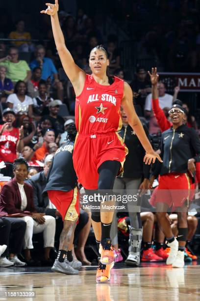 Liz Cambage of Team Wilson reacts to a play during the ATT WNBA AllStar Game 2019 on July 27 2019 at the Mandalay Bay Events Center in Las Vegas...