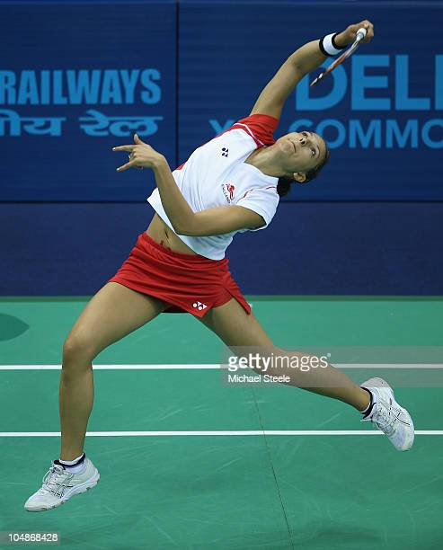 Liz Cann of England competes in the women's singles match against Eileen Foo Kune of Mauritius at Siri Fort Sports Complex during day three of the...