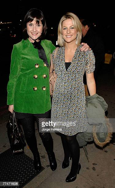 Liz Carling and Georgina Bouzova arrive to the Lisa Hoffman Bath And Shower Range Launch Party at Harvey Nichols on October 23 in London, England.