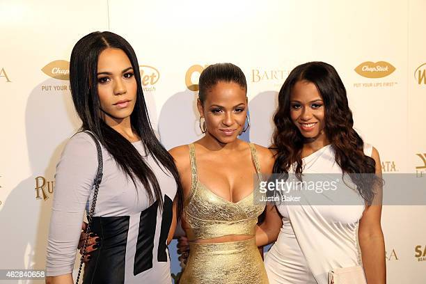 Liz, Christina, and Danielle Milian attend the OK! 2015 Pre GRAMMY Party at Lure on February 5, 2015 in Hollywood, California.
