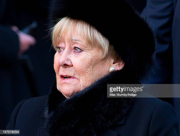 Liz Dawn attends the funeral of Coronation Street actor Bill Tarmey at the Albion United Reformed Church on November 27 2012 in Ashton under Lyne...