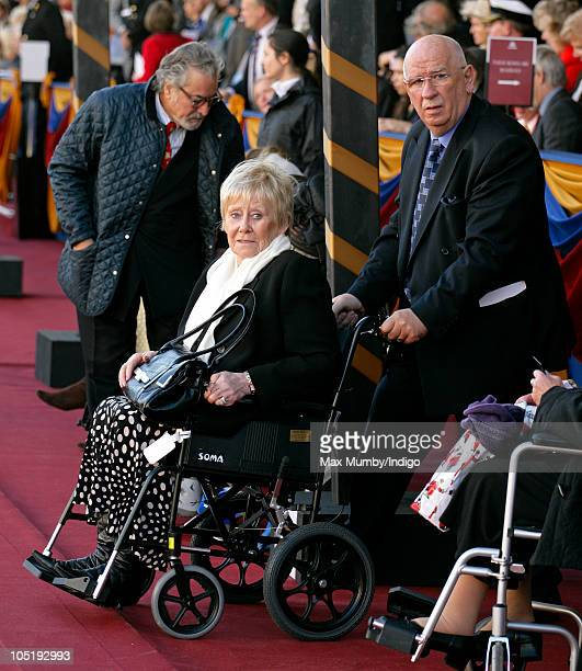 Liz Dawn sits in a wheelchair as she attends the naming ceremony of Cunard's new crusie liner 'Queen Elizabeth' at Southampton Docks on October 11...