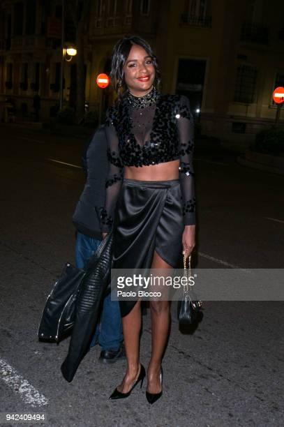 Liz Emiliano arrives at the Alejandra Rubio 18th birthday party at Gabana Club on April 5 2018 in Madrid Spain