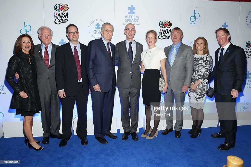 Liz Feld, Henry Schacht, Matt Greenfield, Paul Tagliabue, Adam Silver, Maggie Grise, Wesley Edens, Lauren Edens and Kevin Murray attend the Autism Speaks Tip-off For A Cure 2015 on March 30, 2015 in New York City.