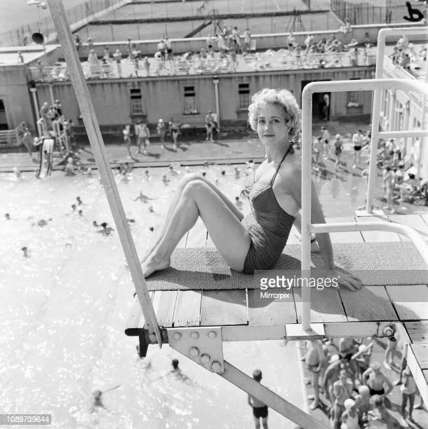 Liz Fraser English actress at Durnsford Road Baths Bounds Green London Borough of Haringey North London Thursday 20th August 1959