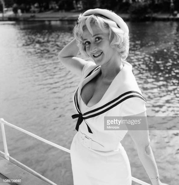 Liz Fraser English actress on location at Tagg's Island in the London Borough of Richmond upon Thames where she is currently filming Double Bunk...
